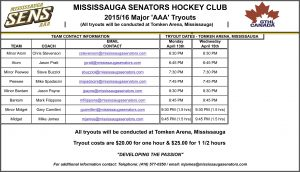 Tryout Schedule for 2015/2016